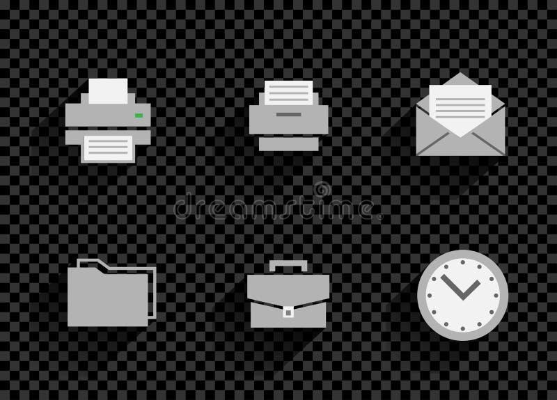 Gesetztes transparentes der Geschäftslokal-Ikone stock abbildung