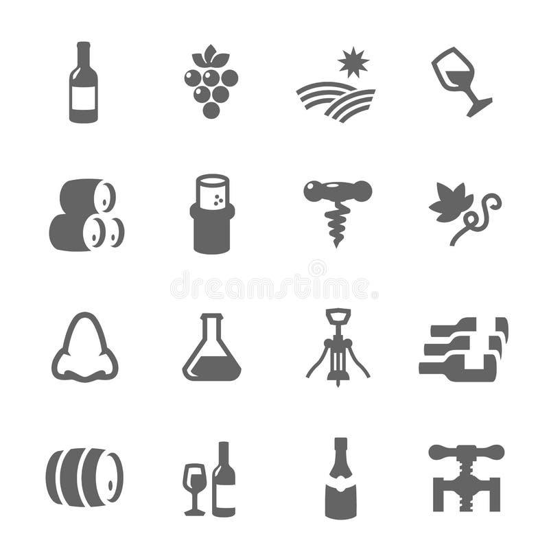 Gesetztes in Verbindung stehendes der einfachen Ikone mit Weinproduktion vektor abbildung