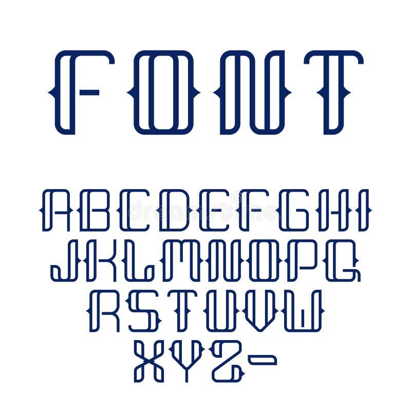 Gesetztes volles Alphabet der modernen geometrischen schönen Guss-Sammlung der Vektorzusammenfassung in der Linie Art stock abbildung