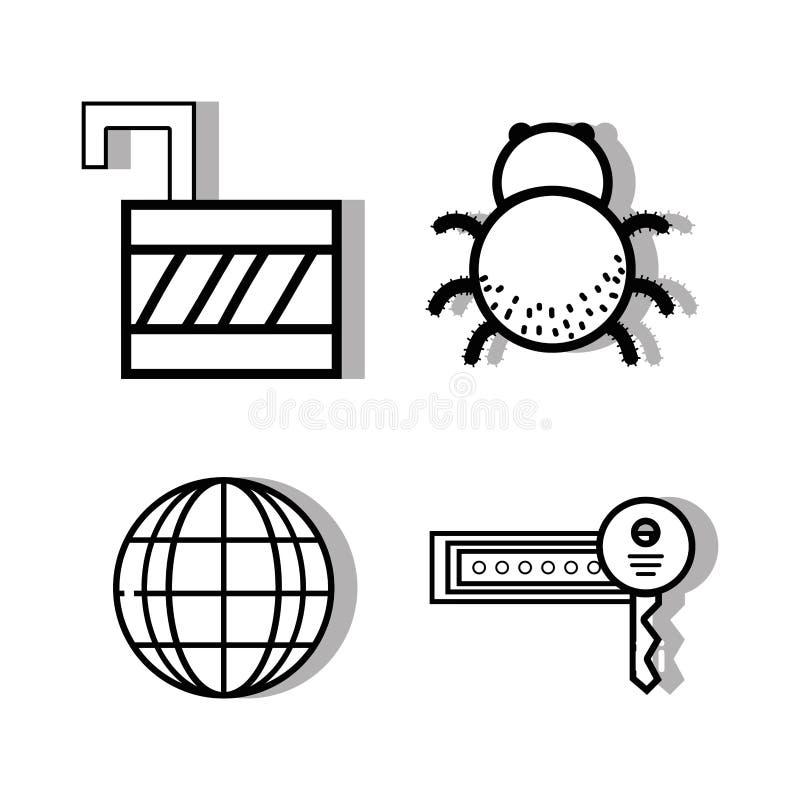 Gesetztes Vorhängeschloß und global mit Schlüssel und Spinne lizenzfreie abbildung