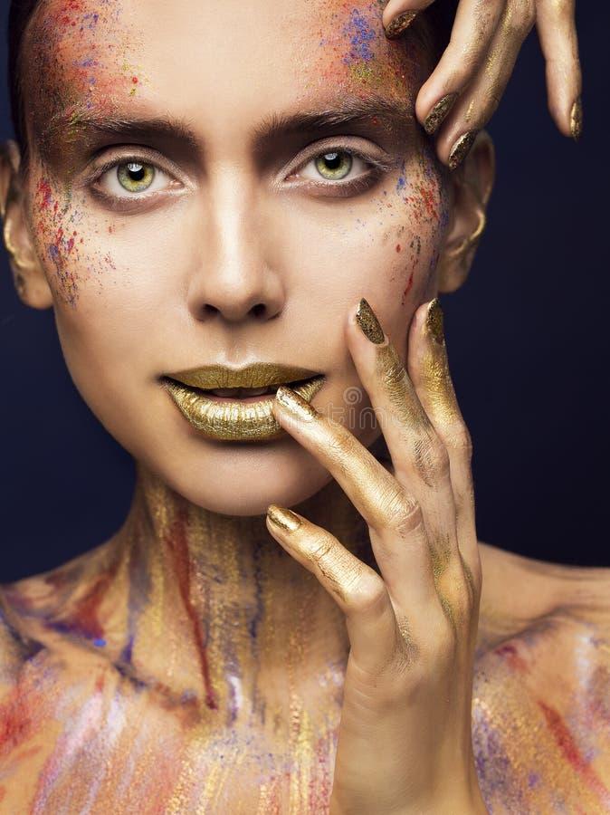Gesicht Art Color Beauty Makeup, kreatives vorbildliches Make Up, Frau lizenzfreie stockfotos