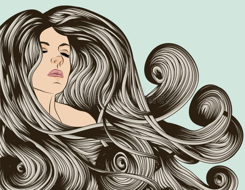 Gesicht der Frau mit dem ausführlichen Haar lizenzfreie abbildung