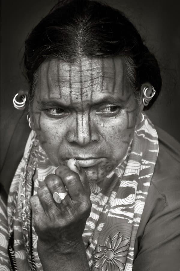 Gesicht der indischen Stämme stockbild