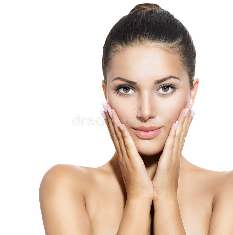 Gesicht der jungen Frau über Weiß stockfotos