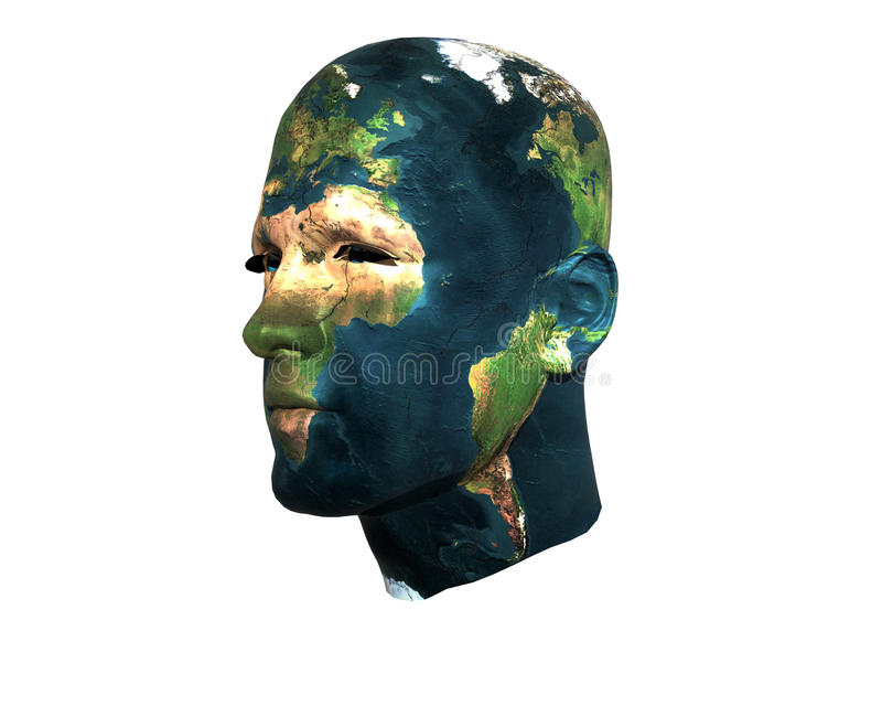 Gesicht der Männer 3D mit Erdebeschaffenheit lizenzfreie abbildung