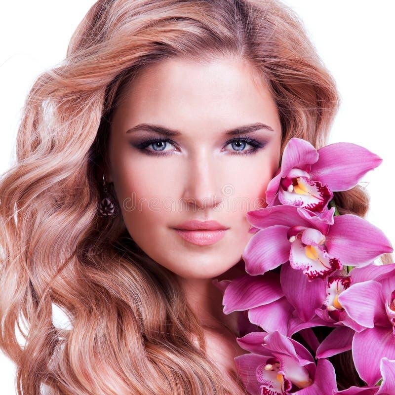 Gesicht der schönen Frau mit gesunder Haut lizenzfreies stockfoto