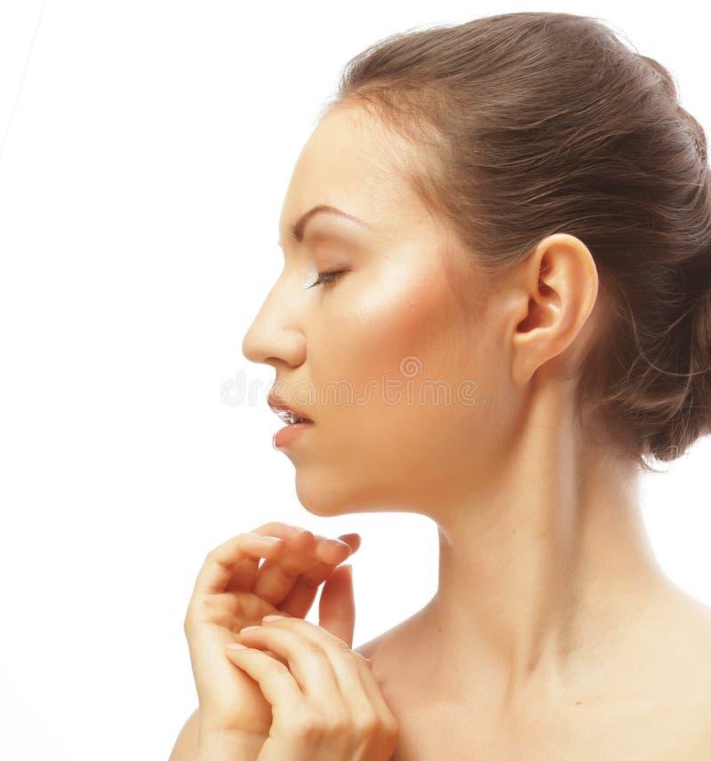 Gesicht der schönen Frau mit sauberer Haut stockbilder