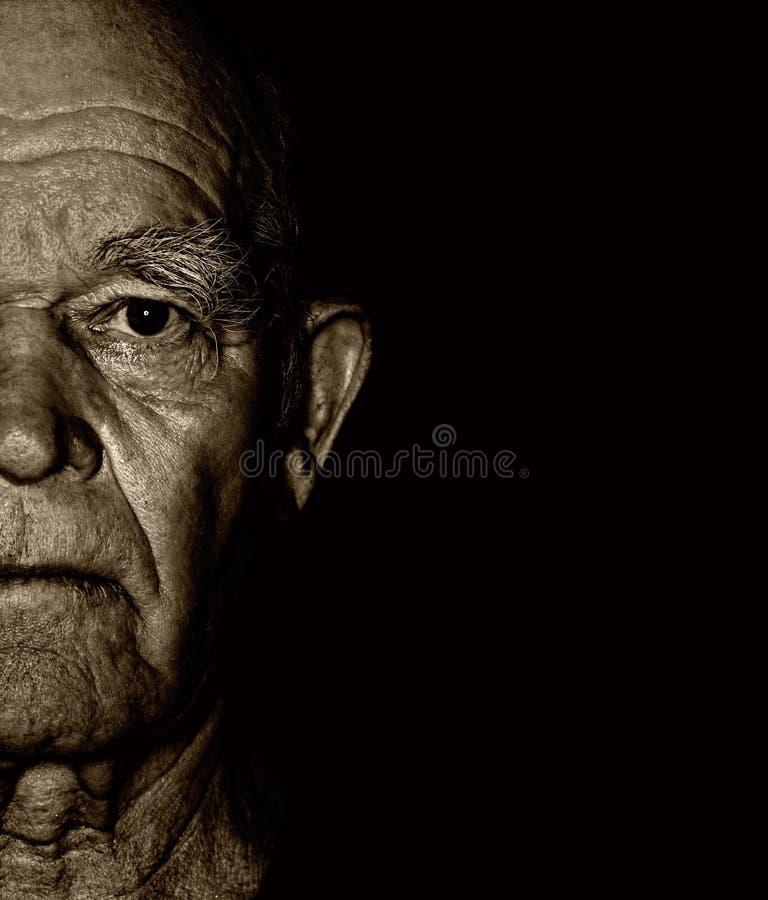 Gesicht des älteren Mannes stockfoto