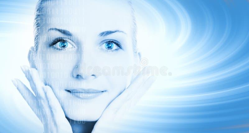 Gesicht des schönen Cybermädchens ein stockfoto