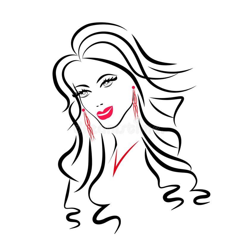 Gesicht des Schönheitsfrauenschattenbildes lizenzfreie abbildung