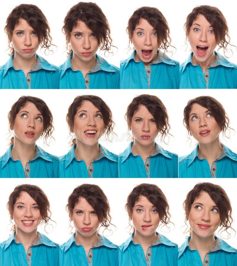 Gesicht des Schauspielers, eine Kompilation von Gefühlen stockbild