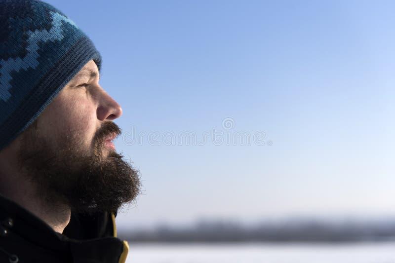 Gesicht des skandinavischen bärtigen Mannes im Profil Bärtige Mannschielende augen von der Sonne stockfotografie