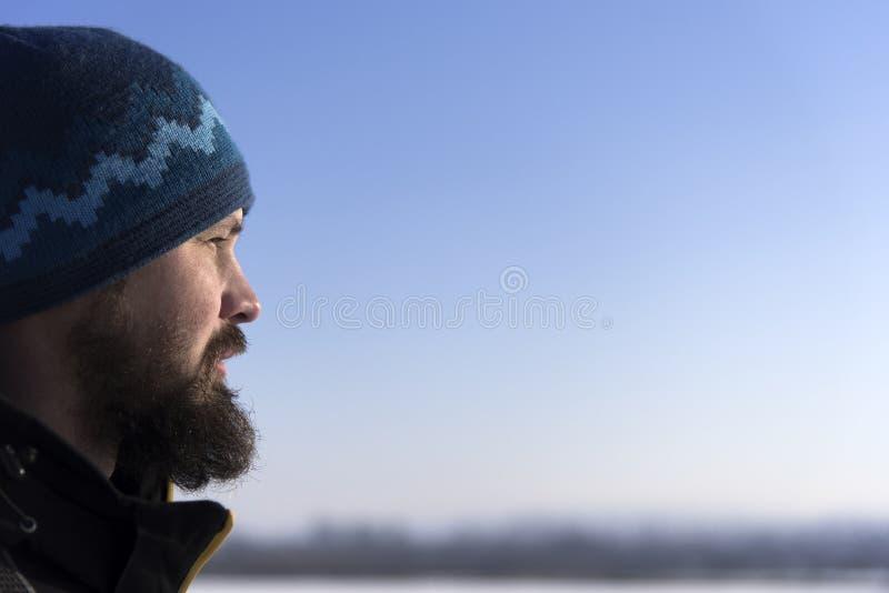 Gesicht des skandinavischen bärtigen Mannes im Profil Bärtiges Untersuchung den Abstand Nahaufnahme stockfoto