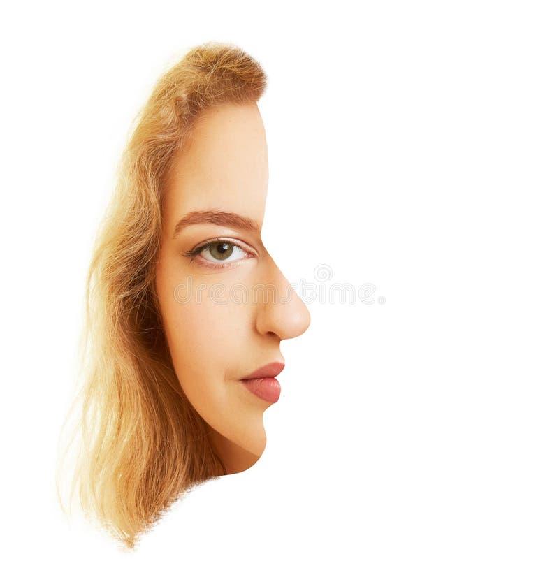 Gesicht einer Frauenstirnseite und seitlich als optische Täuschung lizenzfreie stockbilder