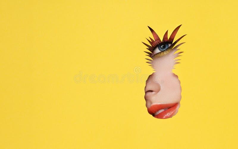 Gesicht einer jungen Schönheit mit einem Schönheitsmake-up lizenzfreies stockfoto
