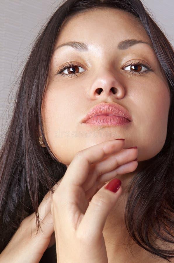 Gesicht junger schöner Frau L stockfotografie