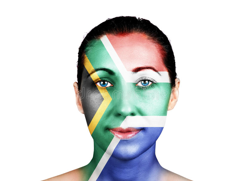 Gesicht mit der Südafrika-Flagge lizenzfreie stockfotos