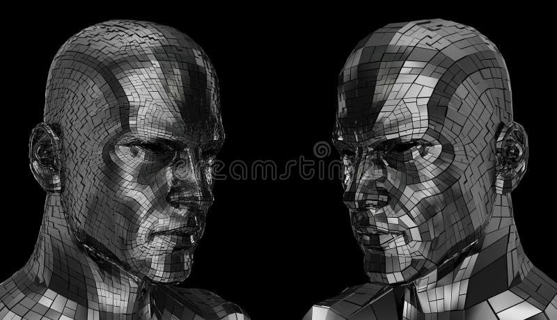 Gesicht mit zwei Robotern, das durch die Kamera sideway schaut lizenzfreie stockfotos