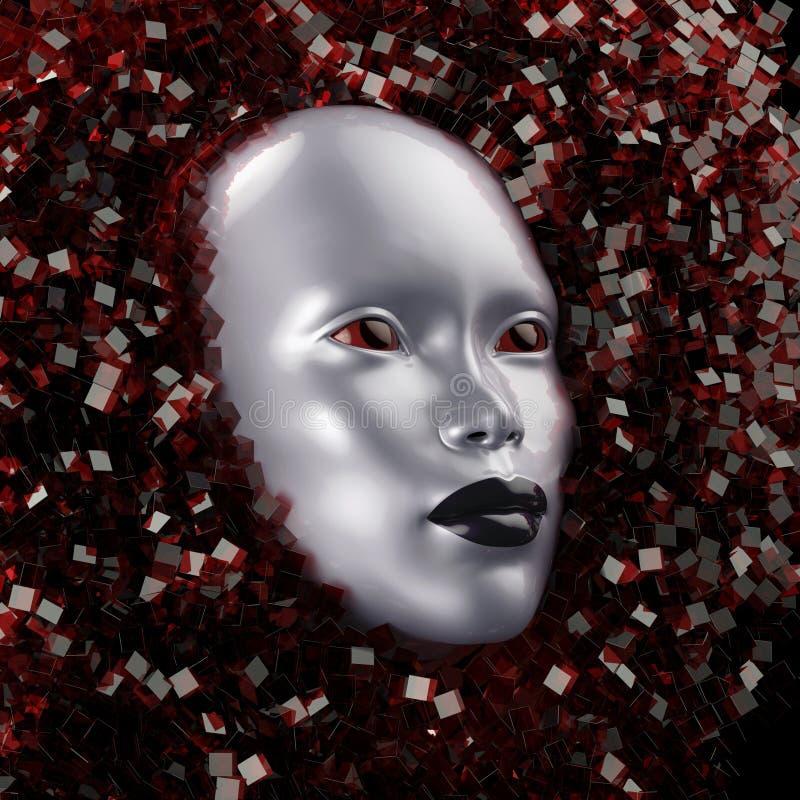 Gesicht umgeben durch Kristall lizenzfreie abbildung