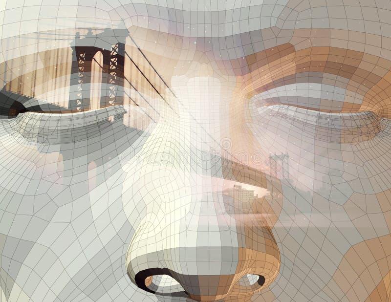 Gesicht und Stadt stock abbildung