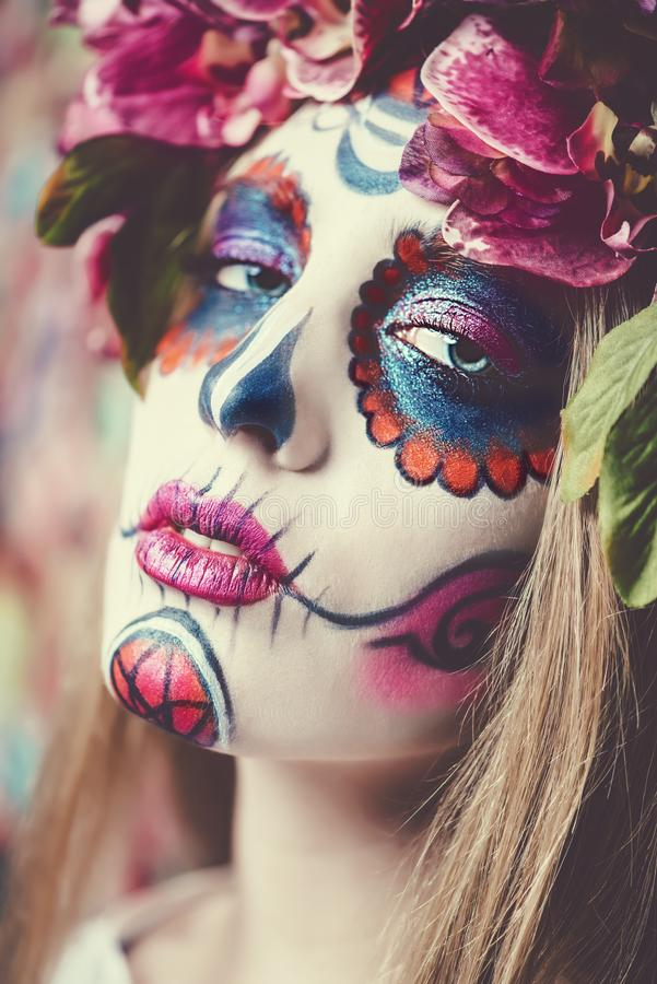 Gesicht von Calavera Catrina stockfotos
