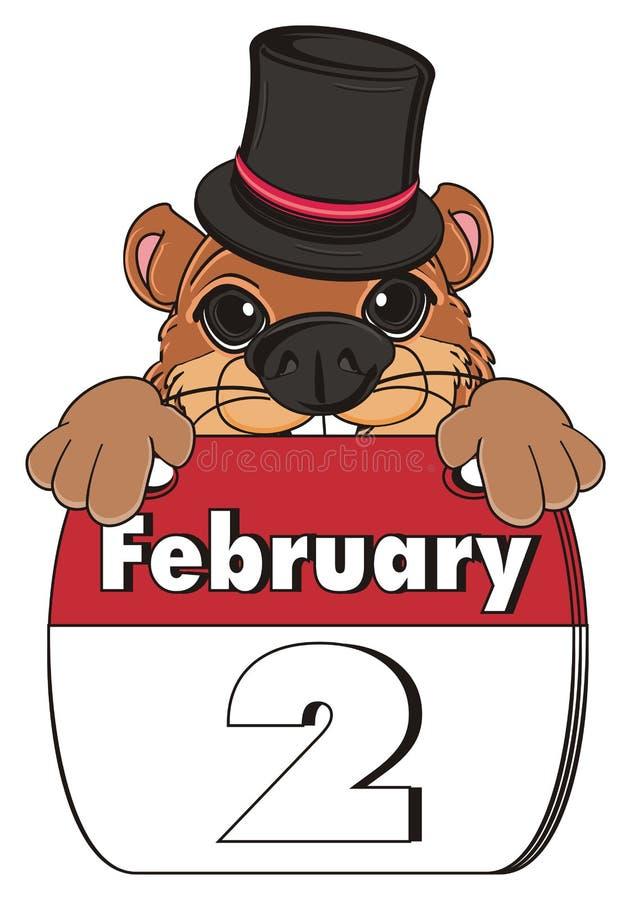 Gesicht von groundhog mit Hut und Kalender stock abbildung