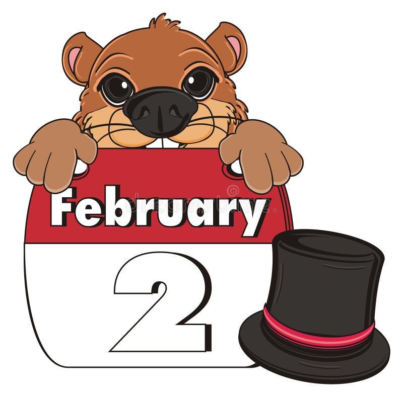 Gesicht von groundhog mit Hut und Kalender lizenzfreie abbildung