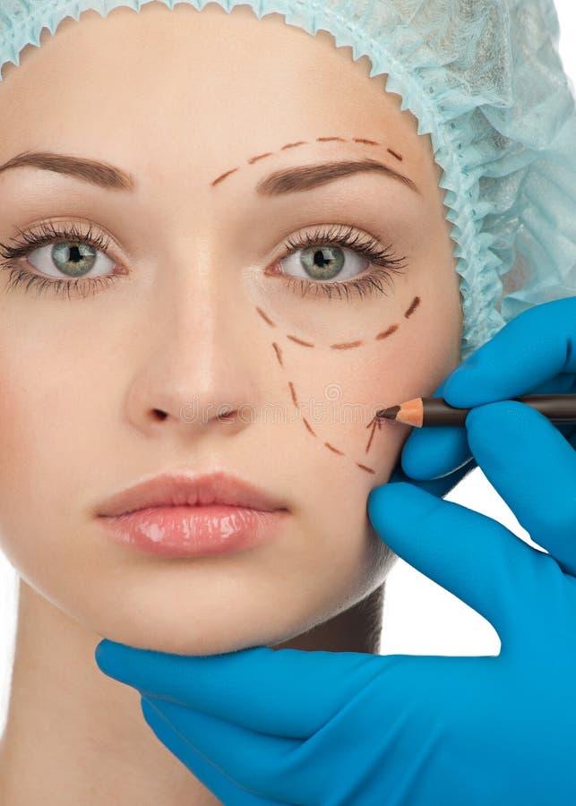 Gesicht vor Schönheitsoperationoperation lizenzfreie stockfotografie