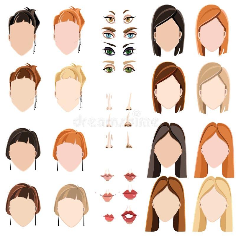 Gesichter der Frauen lizenzfreie abbildung