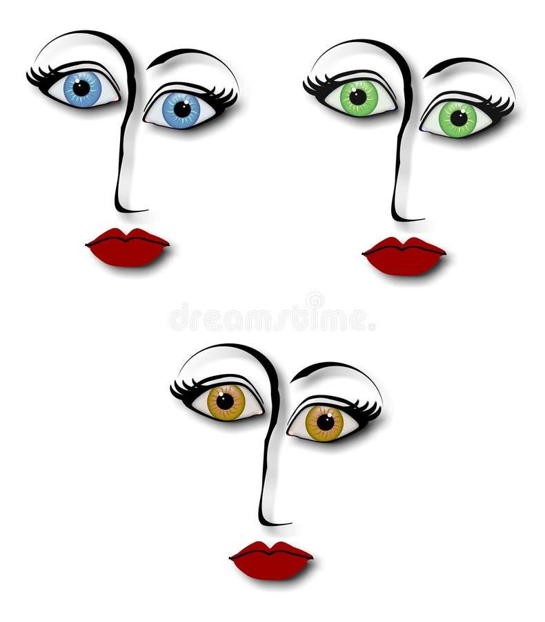 Gesichter der Frauen-Auszugs-Auslegung lizenzfreie abbildung