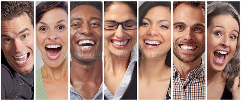 Gesichter der glücklichen Menschen eingestellt lizenzfreies stockfoto