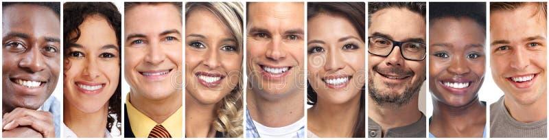 Gesichter der glücklichen Menschen stockfoto