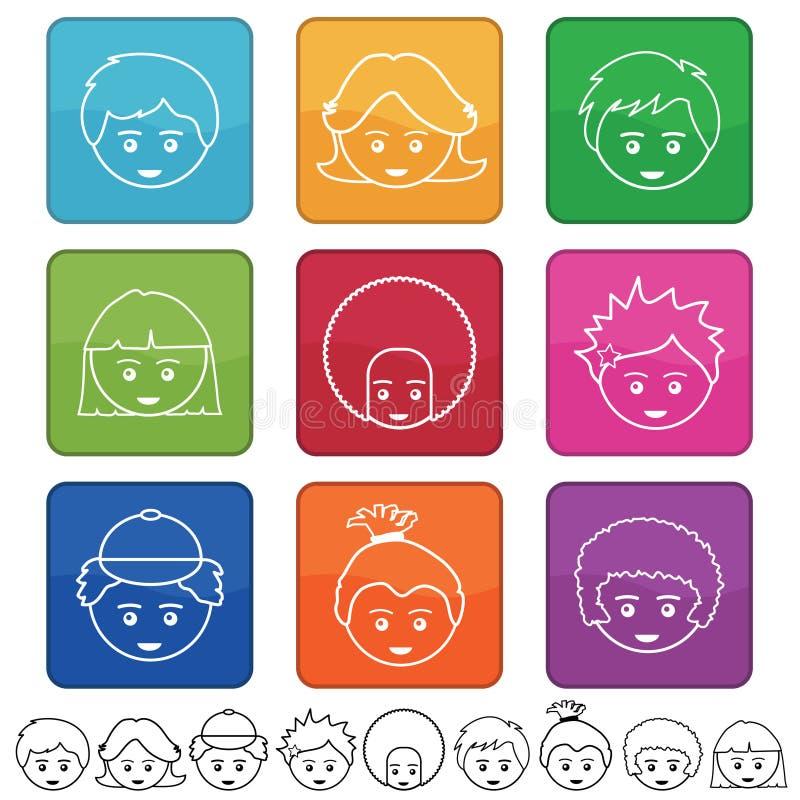 Gesichter der Kinder lizenzfreie abbildung