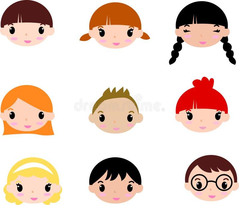Gesichter der lachenden Kinder. Set vektor abbildung