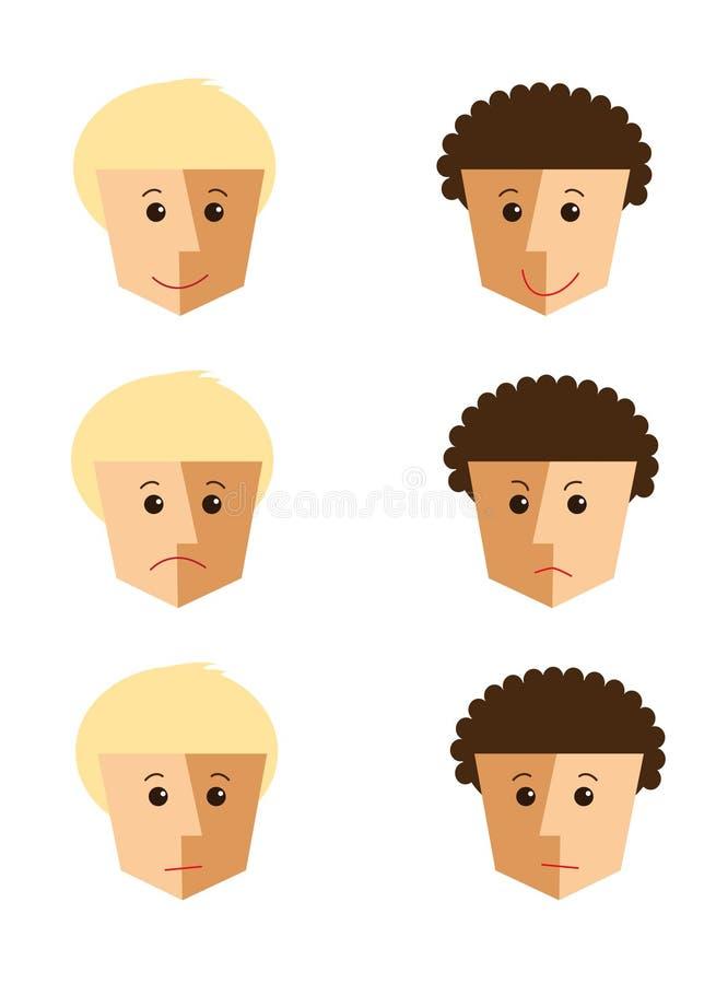 Gesichter mit verschiedenen Gefühlen lizenzfreies stockfoto
