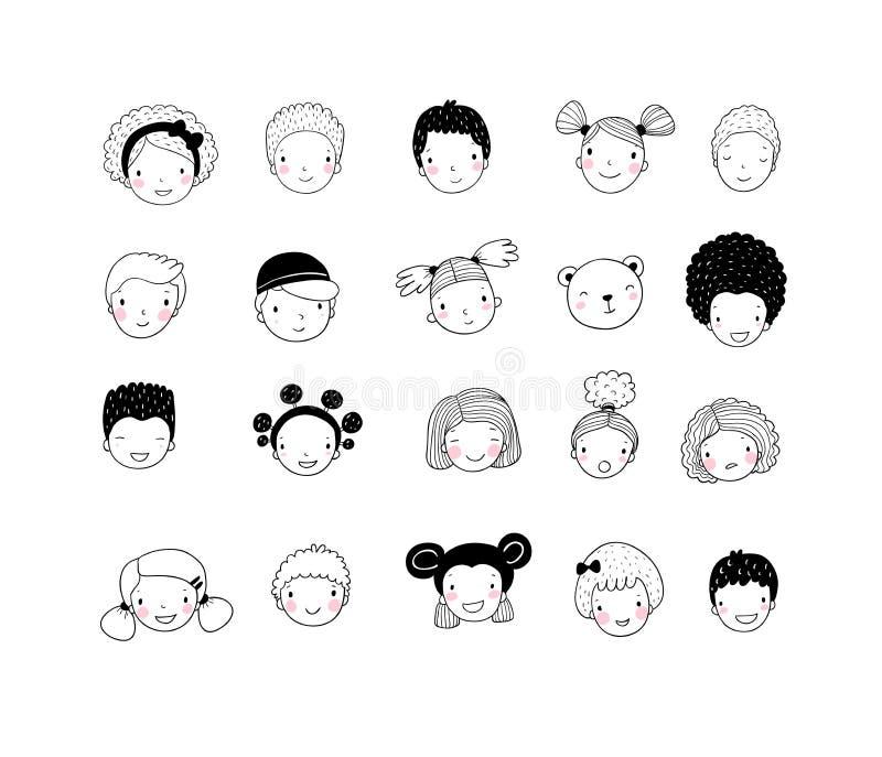 Gesichter von Kindern Nette Karikaturjungen und Mädchen von verschiedenen Nationalitäten Avatarasatz lustige Kinder - Datei des V lizenzfreie abbildung