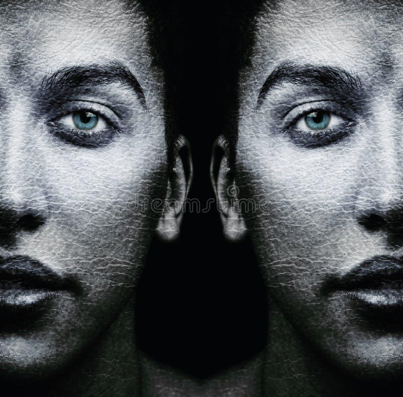 Gesichter von männlichen Zwillingen stockfotografie