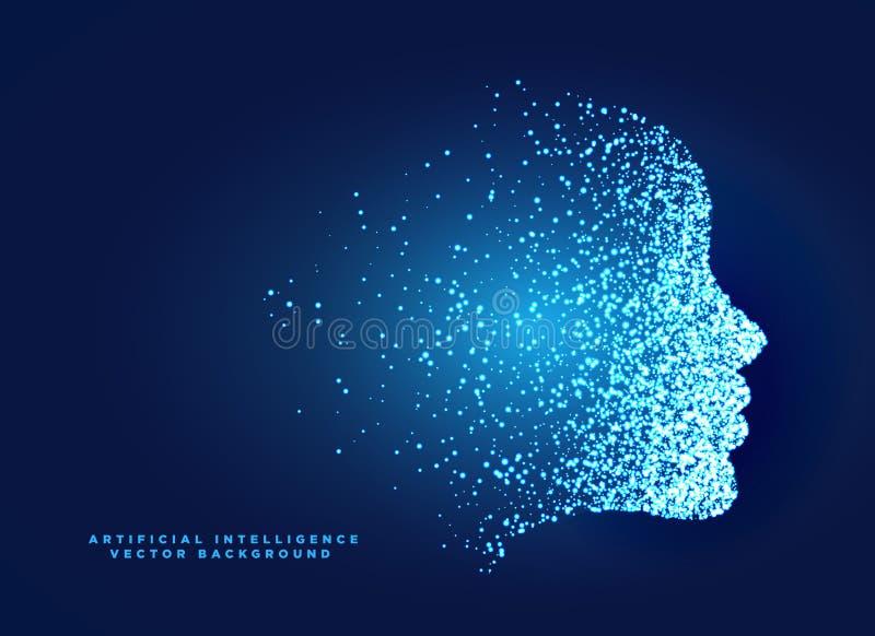 Gesichts-Konzeptdesign des Partikels digitales für künstliches intelligentes lizenzfreie abbildung