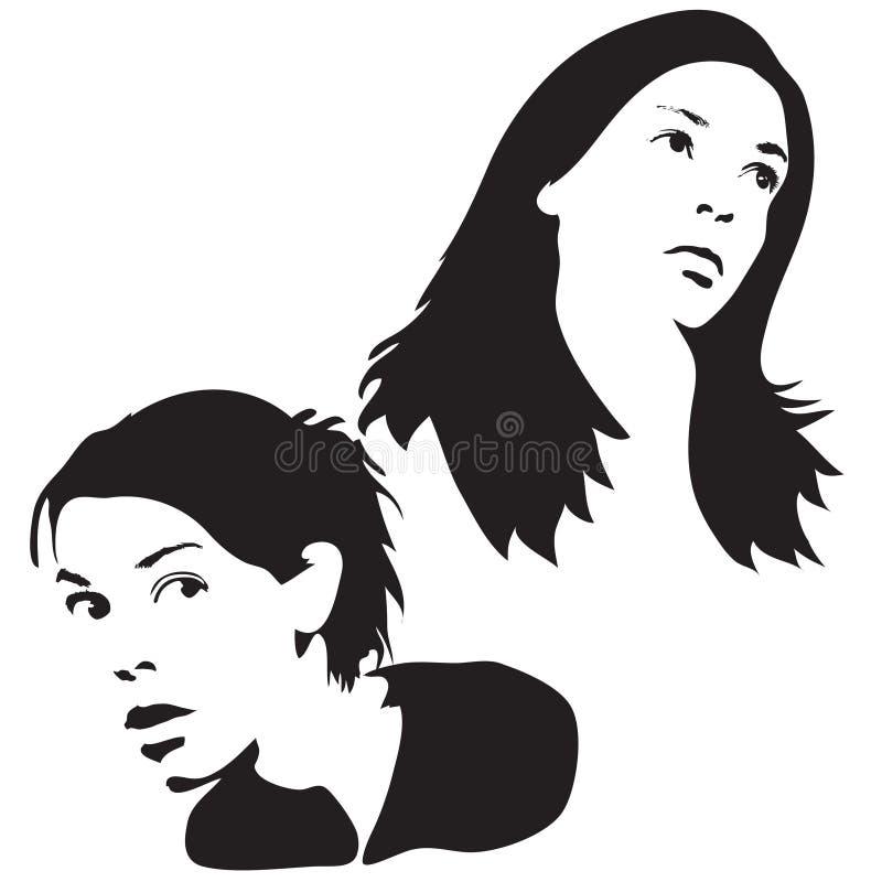 Gesichts-Schattenbilder vektor abbildung
