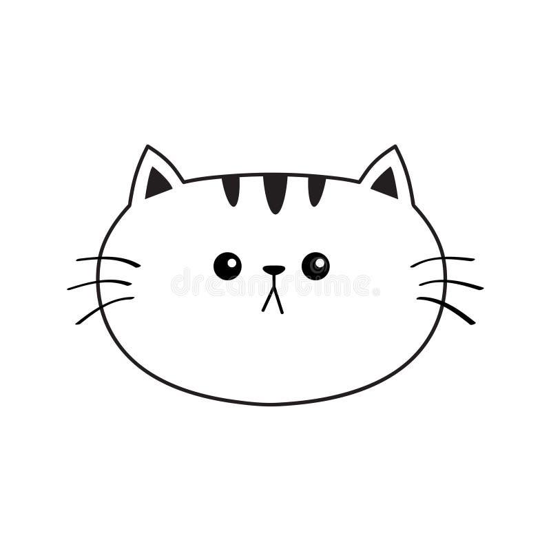 GESICHTS-Schattenbildikone der linearen Katze traurige Haupt Tiefenlinie Netter Karikaturmiezekatzecharakter Kawaii-Tier Lustiges stock abbildung