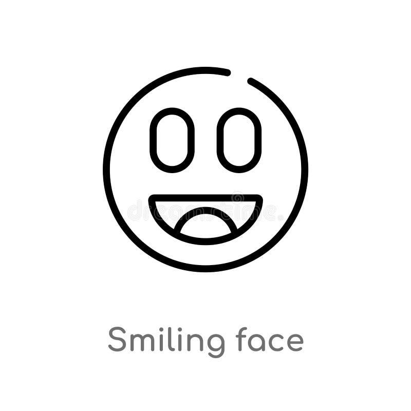 Gesichts-Vektorikone des Entwurfs lächelnde lokalisiertes schwarzes einfaches Linienelementillustration von entscheidendem glyphi lizenzfreie abbildung