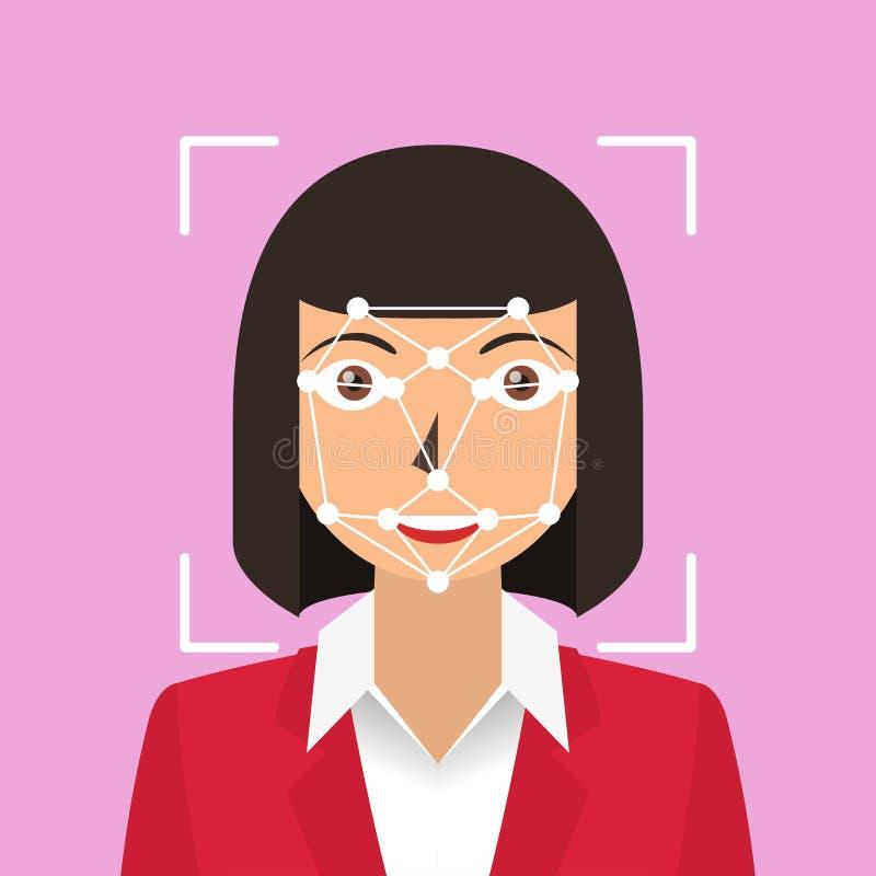 Gesichtsanerkennung Biometrisches Kennzeichen lizenzfreie abbildung