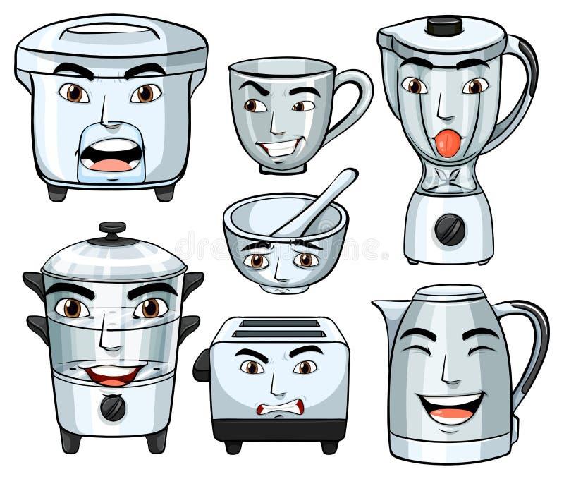 Gesichtsausdrücke auf vielen Haushaltsgeräten vektor abbildung
