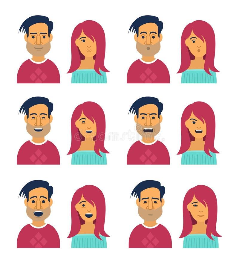 Gesichtsausdrücke der Frau und des Mannes stock abbildung
