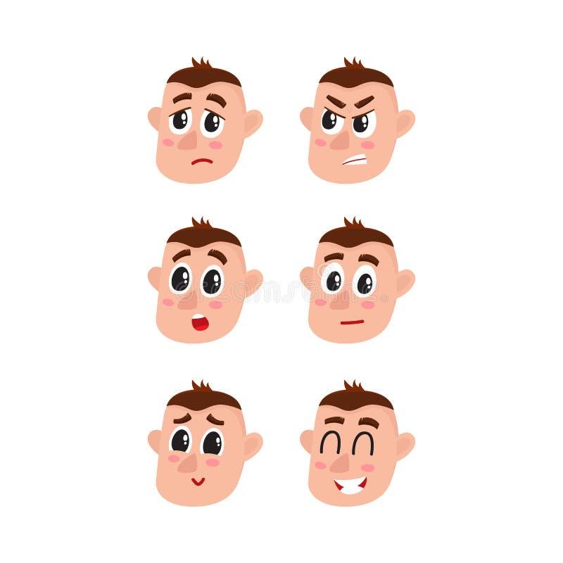 Gesichtsausdrücke eingestellt - Umkippen, verärgert, überrascht, zweifelhaft, schüchtern, glücklich lizenzfreie abbildung