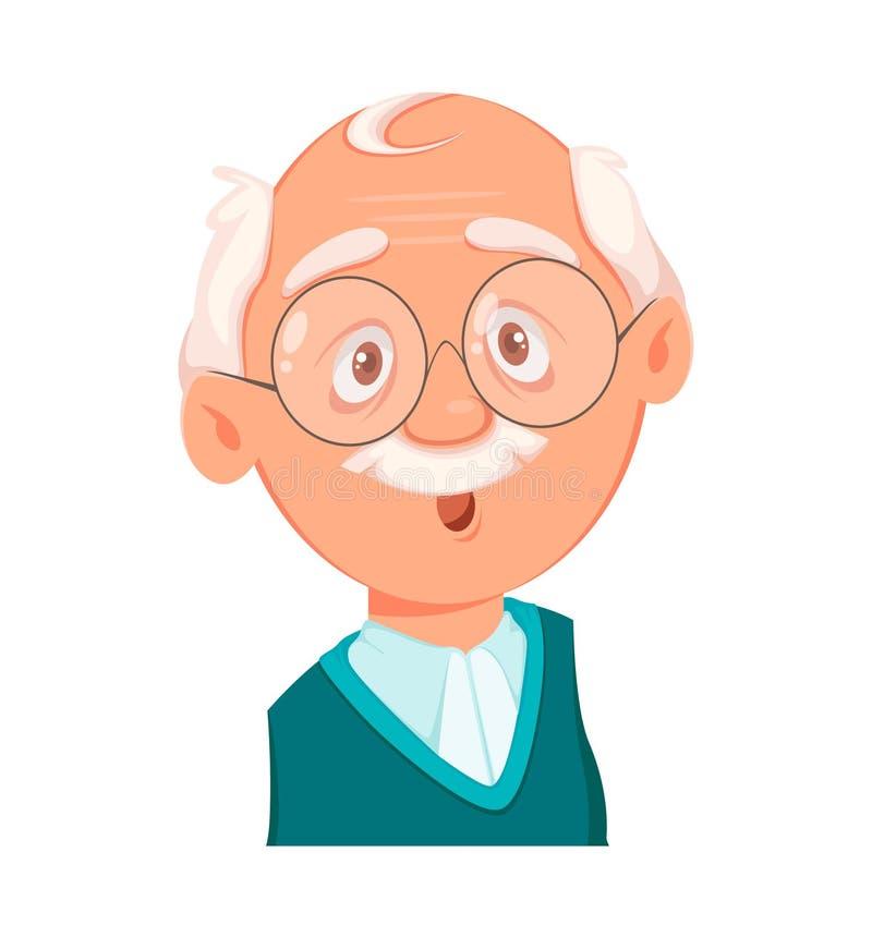 Gesichtsausdruck des Großvaters, überrascht stock abbildung