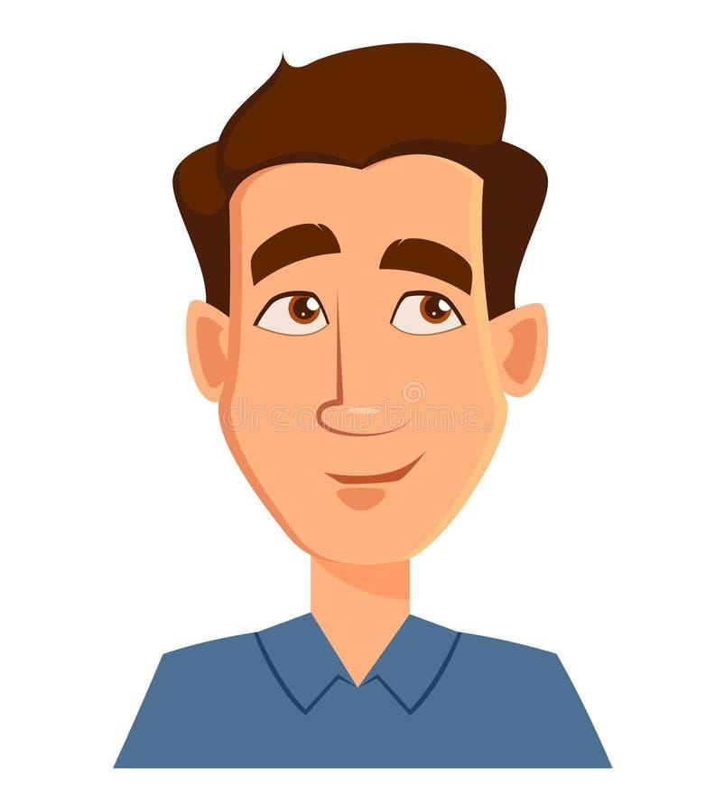 Gesichtsausdruck eines Mannes - denkend Männliche Gefühle Hübsche Zeichentrickfilm-Figur lizenzfreie abbildung