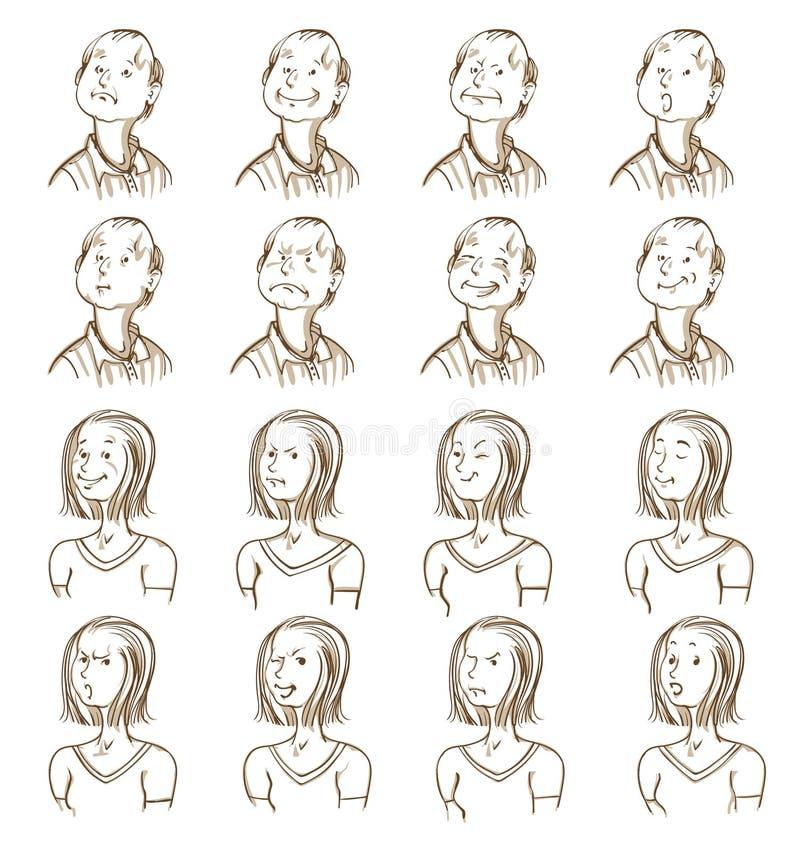 Gesichtsausdruck-Sammlung lizenzfreie abbildung