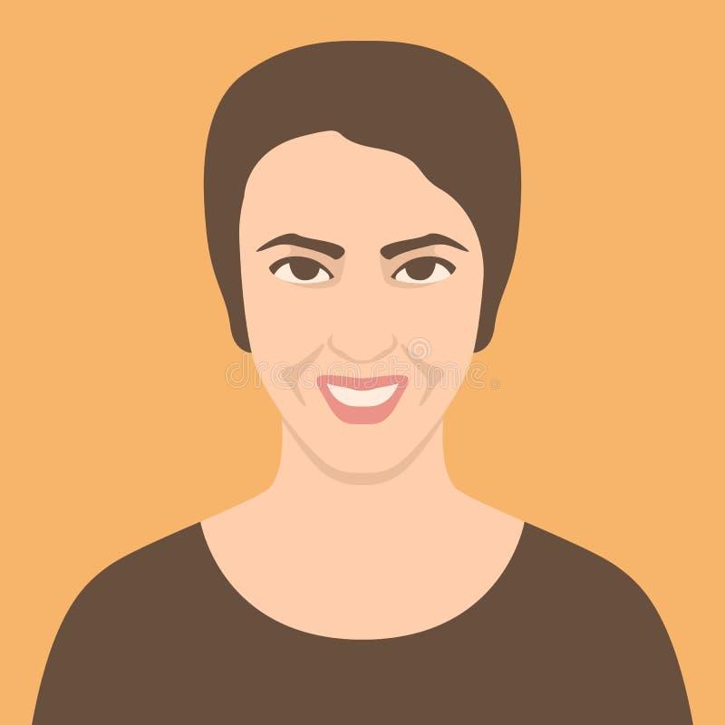 Gesichtsavatara-Vektorillustration des menschlichen Kopfes lächelnde stock abbildung