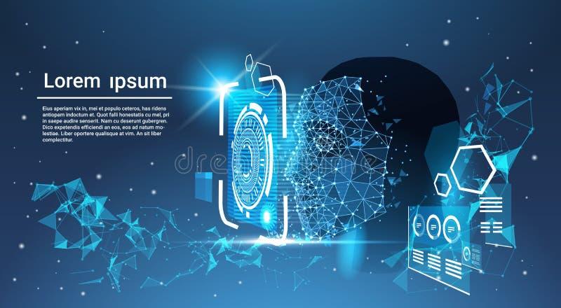 Gesichtserkennungs-System-Konzept-niedriges Polygon-menschliches Gesicht, das blauen Schablonen-Hintergrund mit Kopien-Raum scann lizenzfreie abbildung